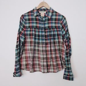 Flying Tomato Plaid Ombre Pleated Button Down
